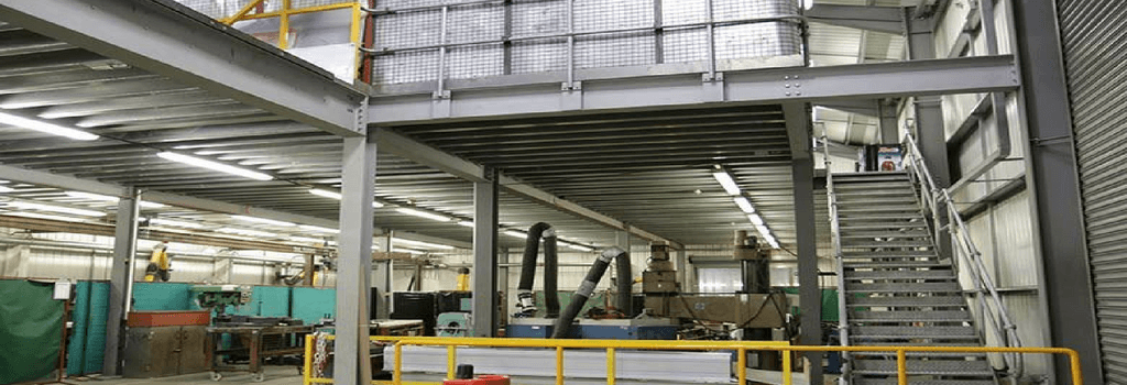 mezzanine floor with stairs and barriers